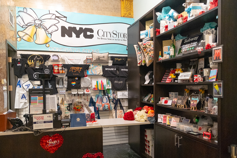 Store inside the NYC marriage bureau sells fake flowers and wedding accessories and souvenirs